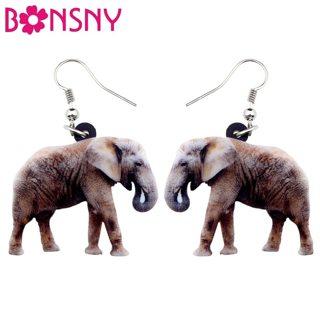 Bonsny Acrylic Smile Elephant Earrings Big Long Dangle Drop Wild Jungle Animal Jewelry For Women