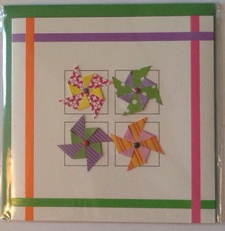 New 3D card, origami pinwheels, blank inside
