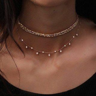 Women's Fashion Gold Geometric Rhinestone Round Crystal Pendant Beaded Multilayer Necklace