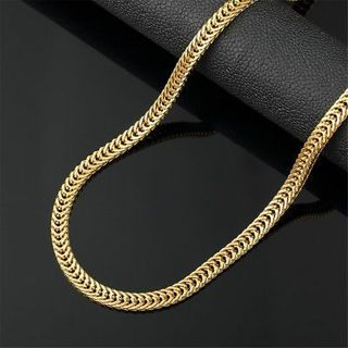 "20"" 6mm Stainless Steel 18k Gold Filled Snake Herringbone Necklace Link Chain"
