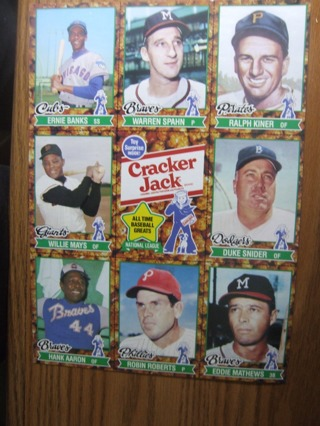 UNCUT SHEET OF CRACKER JACK STARS. MAYS, AARON, SPAHN,BANKS AND MORE