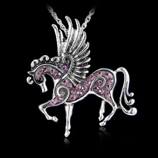❤️ Winged Pegusus Horse Lt. Purple Crystal Necklace -New