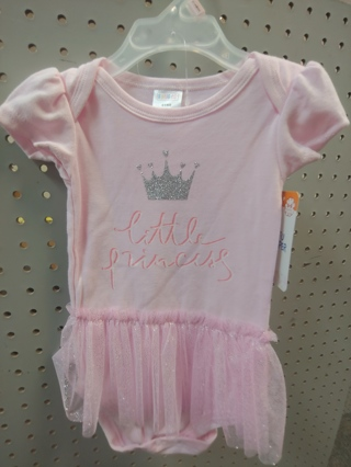 "NWT! Swiggles - Baby Girls Decorated Onesie ""LITTLE PRINCESS"" Size: 6-9mths 100% COTTON"