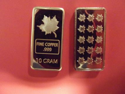 """10 GRAM .999 COPPER """"MAPLE LEAF"""" BULLION BAR"""
