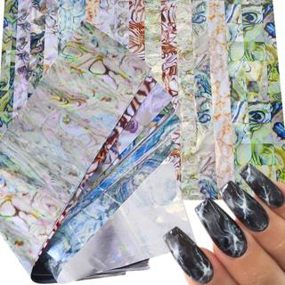 16 PCS Colorful Marble Shining Stone Rock Nail Art Foil Stickers Glue Transfer Gorgeous  Manicure