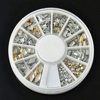 2x Gold Silver 3D Metal Nail Art Tips Fashion Metallic Studs Stickers