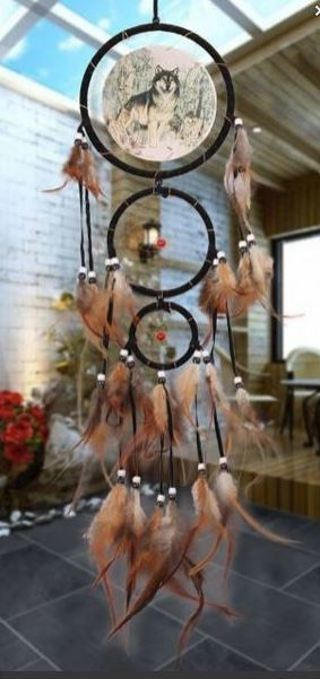 "NEW 29.5"" Magestic Wolf DREAMCATCHER Art Ornament Dream Catcher Feathers Wolves FREE SHIPPING"
