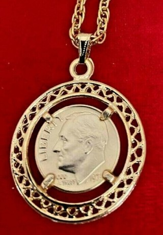 Roosevelt Dime coin necklace US made 18 kt NWT
