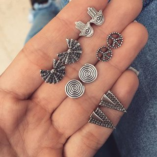 10 Pcs/set Women Fashion Bohemian Retro Geometric Peace Sign Fatima Hand Triangle Silver Earrings