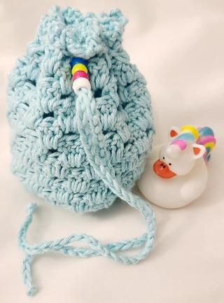 Crochet Pull String Gift Bag,or SOAP BAG FOR SHOWER OR BATH***VALENTINES**LQQK***