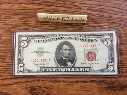 1963 STARNOTE $5.00 redseal great condition-free shipping USA!