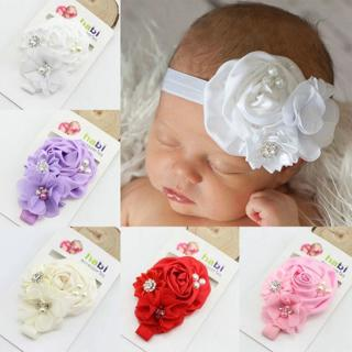 flower floral crystal pearl baby girl headband Infant hair accessories cloth band newborn Headwear