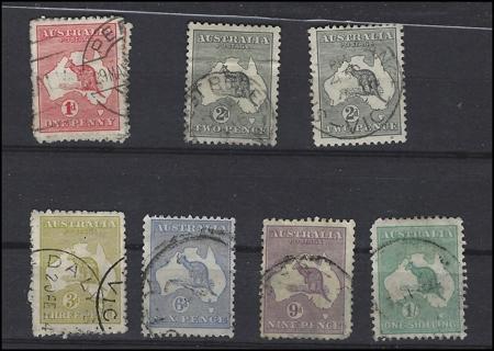 1913-16 Australia Kangaroo & Map stamps (7), with Scott IDs, U/VF, est CV $67.50