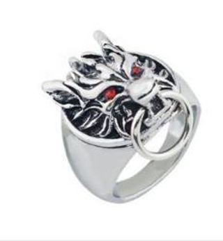 1 NEW Red Ruby Eyes Demon Wolf Ring 925 Sterling Silver Plated Ruby Zircon biker goth NEW SIZES