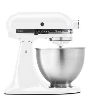 KitchenAid KSM75WH Classic Plus Series 4.5-Quart Tilt-Head Stand Mixer, White - New