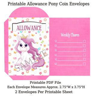 Printable Pony Allowance Coin Envelopes