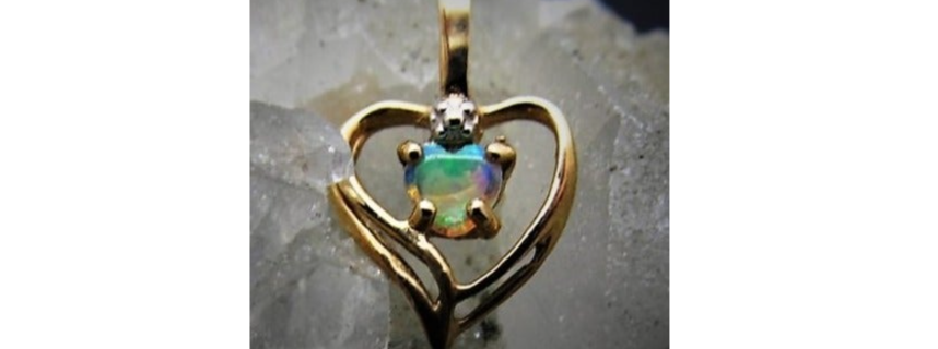 10k Estate Find Opal and Diamond Charm/Pendant