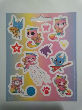 3 Full Sheets of Unicorn Kitty Stickers
