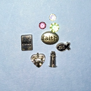 New Lot of Faith/Religious Themed Floating Locket / Living Locket Charms.
