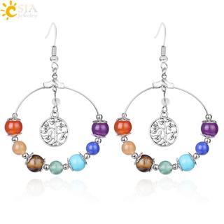 CSJA 7 Chakra Tree of Life Women Drop Earrings Natural Round Gem Stone Bead Reiki Healing Crystal