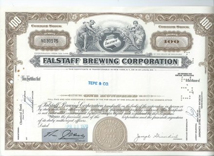 Falstaff Brewing stock certificate 1970 famous beer company