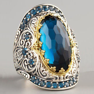 Gorgeous Women 925 Silver Jewelry Wedding Ring Oval Cut Blue Sapphire Ring