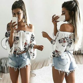 Women Boho Off Shoulder Crop Tops Floral Bell Sleeve Loose Summer T-Shirt Blouse