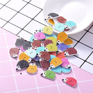 50 PCS/Pack Colorful Hedgehog Animal Wooden Handmade Buttons