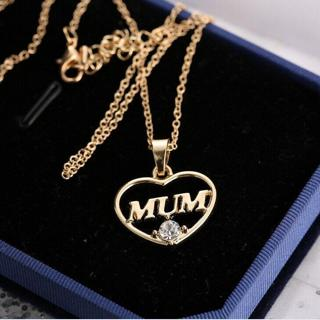 Mother's day Mum Gift Jewelry Gold heart Plated Crystal Pendent Necklace Charm