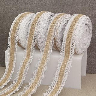 2Meter 25mm Jute Burlap Hessian Ribbon with Lace Trim Christmas Party DIY Craft Vintage Rustic