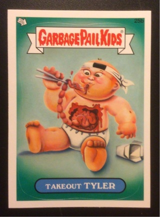"""2012 Tops Garbage Pail Kids Sticker Card #25b """"TAKEOUT TYLER"""" See Photos for Details."""
