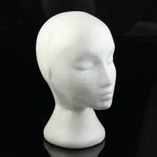 [GIN FOR FREE SHIPPING] Styrofoam Mannequin Female Head Model Dummy Wig Glasses Hat Display Stand