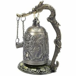 Zinc Dragon Carved Buddhist Buddhist Bell Vintage Good Luck Bell Bronze Lock