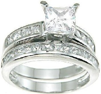 NEW Ring Set Princess Cut Cubic Zirconia Silver Plated 2 Pcs/Set FREE SHIPPING