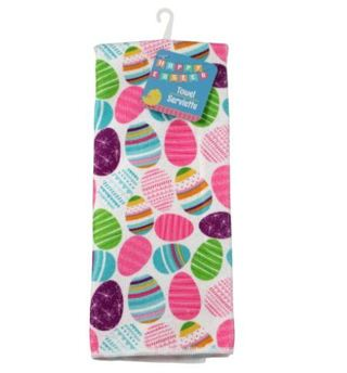 1 Polyester Easter-Themed Kitchen Towel Easter Eggs Colorful ~ LOW GIN