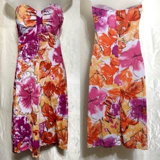 BB Jeans~❤Gorgeous❤ VIBRANT Floral Design STRETCHY Ruched V-NECK Strapless DRESS ~Size M~
