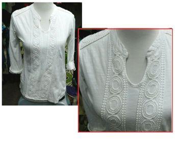 Beautiful White Roll Sleeve ADIVA Shirt V Neck Boho Ladies Small **Cute!**