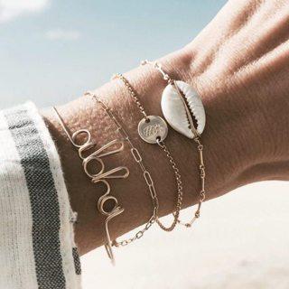 4 Pcs/set Bohemian Shell Pineapple Bracelets & Bangles Set Geometry Boho Vintage Multilayer Charm