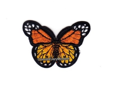 Orange Monarch Butterfly Embroidered Sew-on Patch