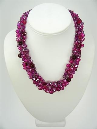 "White House Black Market Pink cluster fuchsia glass bead silver 18"" extender NWT"
