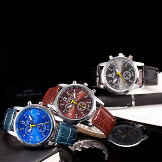 [GIN FOR FREE SHIPPING] Luxury Men Faux Leather Band Quartz Analog Wrist Watch Stainless Steel