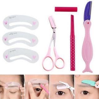 IG_ FT- 1Set Eyebrow Pencil Razor Scissors Stencil Templates Makeup Eyebrow Shap