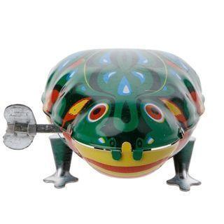 Metal Wind-up Jumping Frog Clockwork Tin Toys Children Funny Vintage Doll Game