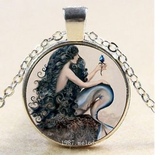 New Cabochon Glass Silver/Bronze/Black Pendant Necklace(Mermaid Fantasy