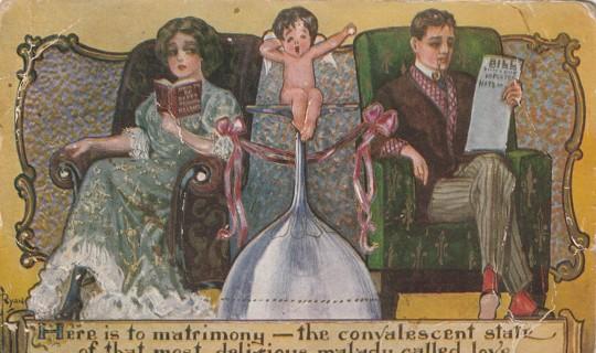 Vintage Used Postcard: Pre Linen: Matrimony