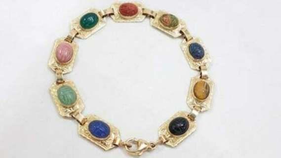 10k Vintage Antique Estate Find 10K Multi-Gemstone Scarab Bracelet 9.60 Grams