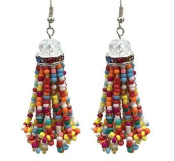 Hand beaded drop earrings Colorful BOHO GYPSY new free ship