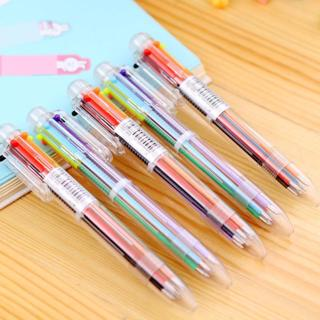 Multi 6 Color In One Set Red Blue Black Ball Point Ballpoint Pen For Writing School Office Supplie