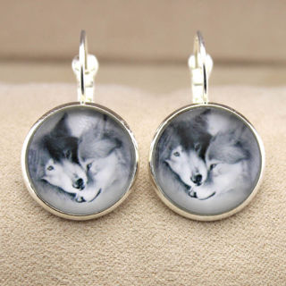 Fashion 1pair Silver Glass cabochon Jewelry Earrings Christmas AS10