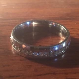 Rhinestone Silver Plate Ring Size 10